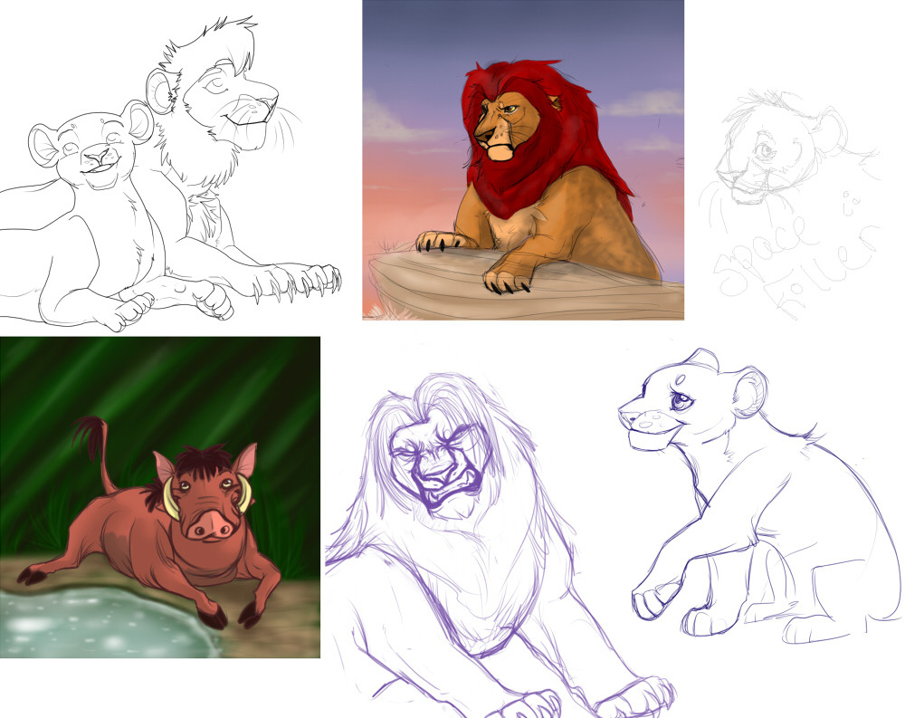 TLKSketchDump Middle top: Mufasa picture done at a birthday party to demonstrate how my ...