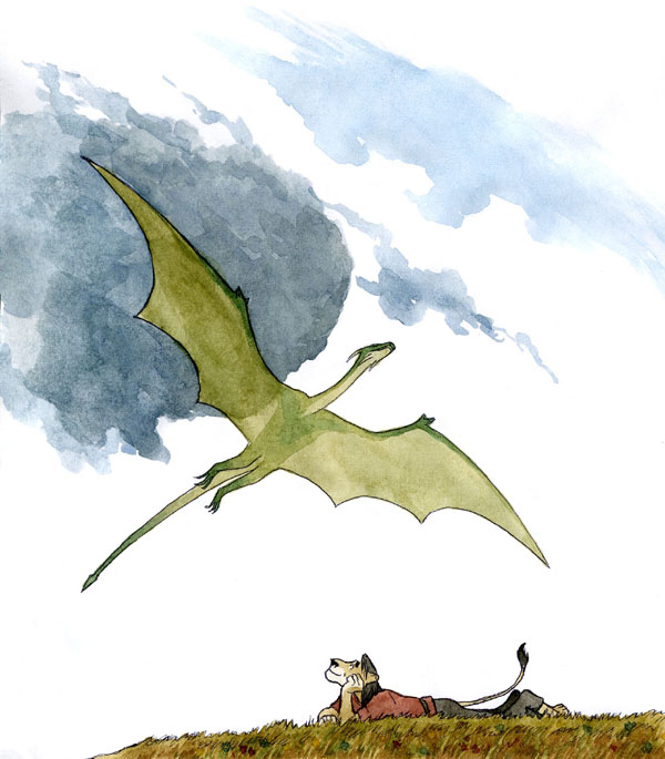 """I like to watch a flight of a dragon."" Color JPEG. 600x685"