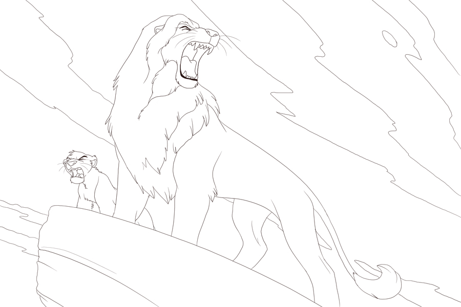 Coloring pages. for the coloring cave 8D Mufasa and Simba greeting the