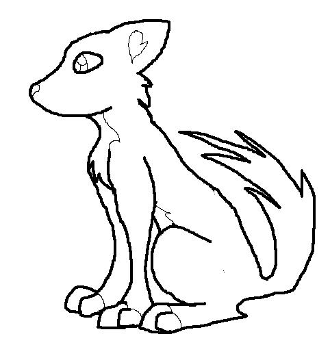 anime wolf lineart. An anime wolf.