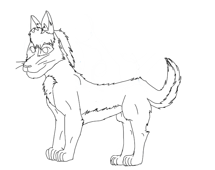 anime wolf lineart. Lineart of a wolf I did in